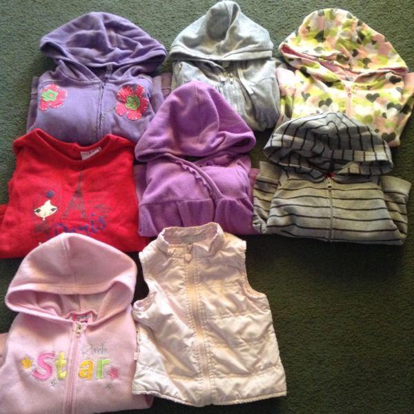 Girls size 2 jumpers, jackets & vest bundle